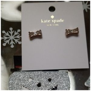 Kate Spade Gold Pave Bow Stud Earrings.
